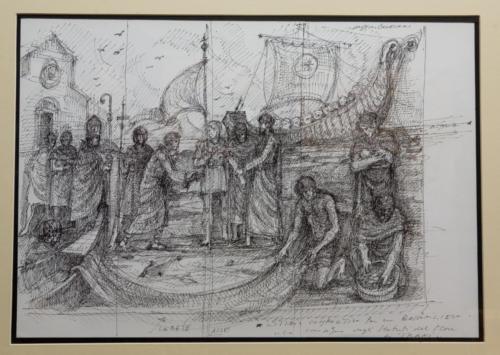"""Studio per bassorilievo """"La consegna degli Statuti Marittimi"""" (1992)"""