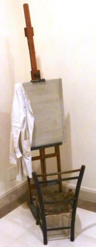 Cavalletto dell'artista,Sedia dell'artista, Camice dell'artista